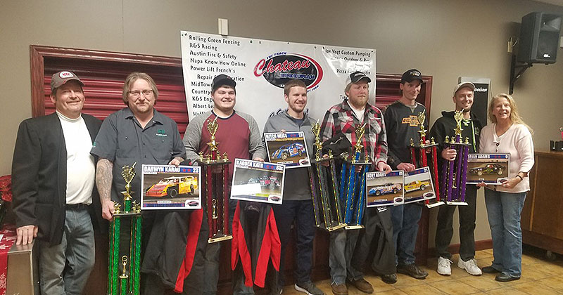 2018 Chateau Speedway Season Champions (L to R) Track Owner Mark Wytaske, French's Repair USRA A Mod Champion Darwyn Karau – Kasson, USRA B Mod Champion Kadden Kath – Owatonna, WISSOTA Midwest Modified Champion Mitch Weiss – Scandia, WISSOTA Street Stock Champion Kory Adams -Stacyville IA, Power 96 Pure Stock Champion Jesse Stahl – Austin, Y Waste Hornet Champion Brian Adams – Shakopee, Annette Wytaske.